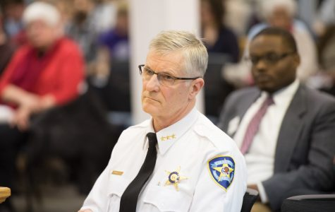 Evanston Police Chief Richard Eddington attends a Human Services meeting. Eddington and other officials from EPD presented the current process for citizen complaint reviews at a community meeting Thursday evening.