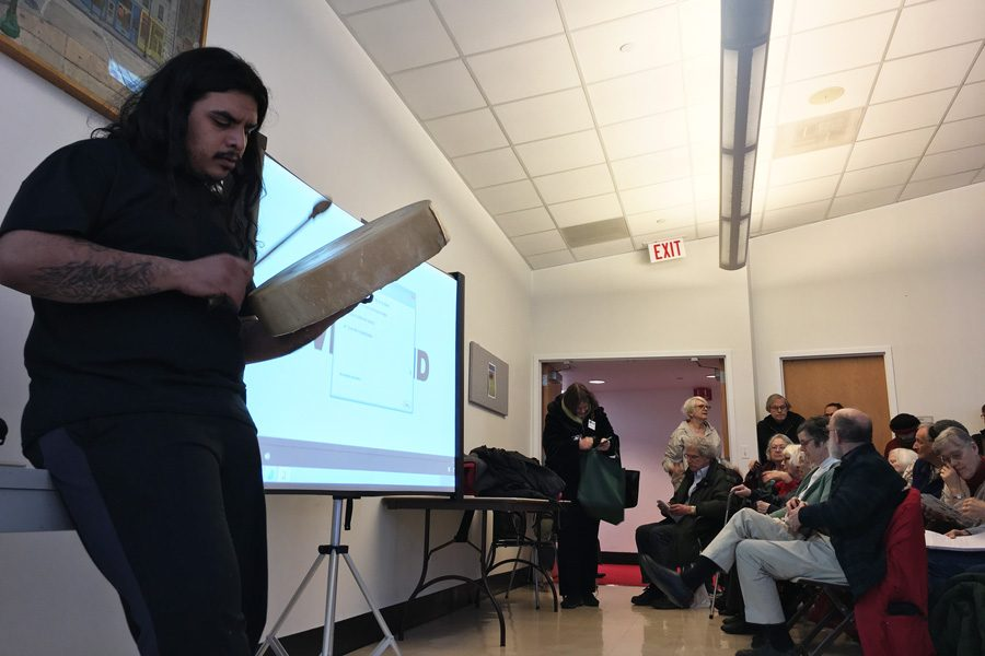 Efrain Montalvo, a cultural liaison at the Chicago chapter of the International Indigenous Youth Council, at an event hosted by Evanston Public Library. The event included a discussion about the latest developments on the Dakota Access Pipeline in North Dakota and Illinois, as well as issues of Native American sovereignty.