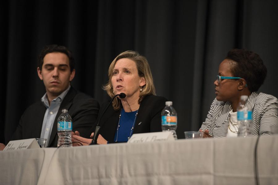 Ald. Melissa Wynne (3rd) speaks at a candidate forum. She and other Economic Development Committee members proposed a reimbursement for Kabul House's liquor and tax revenues up to $50,000.