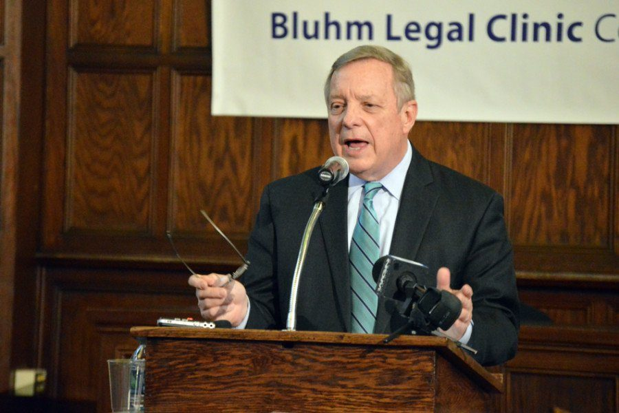 "Sen. Dick Durbin speaks at the Northwestern School of Law in 2015. Durbin cosigned a letter with Sen. Tammy Duckworth urging Gov. Bruce Rauner to ""stand up"" for Illinois residents in the face of a potential repeal of Obamacare."