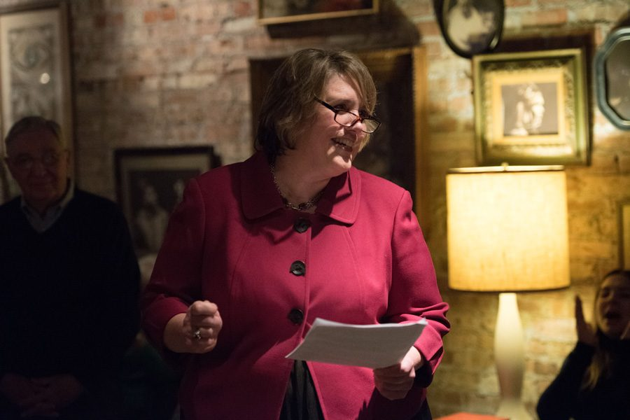 Candidate for 1st Ward Alderman Lee Cabot talks to the crowd during her campaign kickoff in January. Cabot said she would prioritize communication with residents as alderman.