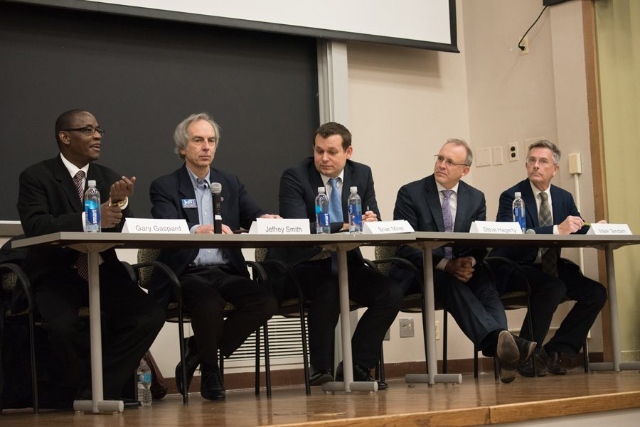 Candidates for mayor speak at a debate. Ald. Mark Tendam (6th) (far right) and businessman Steve Hagerty (second from the right) were the top two candidates in Tuesday's primary, and will move on to the general election in April.