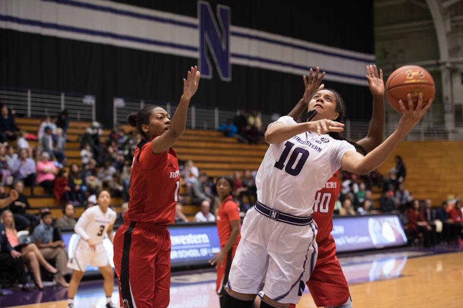 Nia Coffey attempts a shot. The senior forward notched 19 points but couldn't lift Northwestern over the Boilermakers, who won on a buzzer-beater.