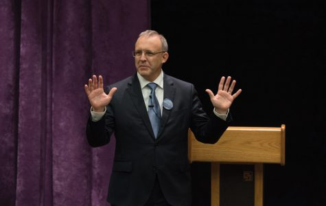 Businessman Steve Hagerty speaks at a mayoral forum Thursday evening. Hagerty said he wants to stay the course if elected mayor.