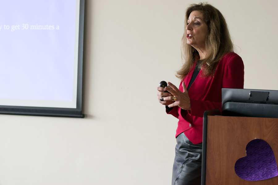 Dr. Marla Mendelson, director of the Center for Women's Cardiovascular Health of the Bluhm Cardiovascular Institute, discusses tips for women's heart health Saturday. The program, created by Weinberg sophomore Annie Krall, was held in Norris University Center.