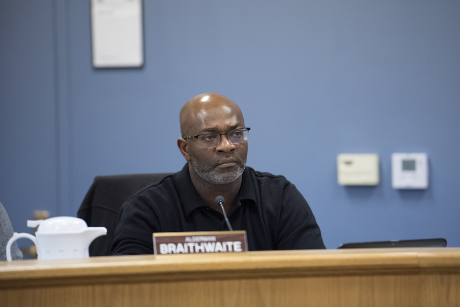 Ald. Peter Braithwaite (2nd) speaks at a Human Services Committee meeting on Monday. At the meeting, policy and procedural changes for the Evanston Police Department were presented to council members.