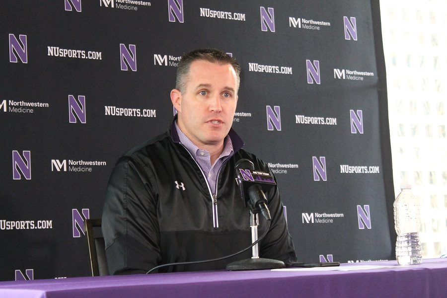 Pat+Fitzgerald+speaks+during+his+signing+day+news+conference.+The+coach+welcomed+26+new+players+to+the+program%2C+including+six+walk-ons+and+one+graduate+transfer.