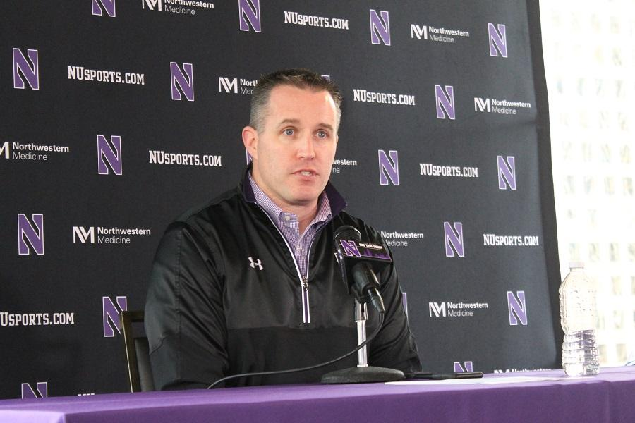 Pat Fitzgerald speaks during his signing day news conference. The coach welcomed 26 new players to the program, including six walk-ons and one graduate transfer.