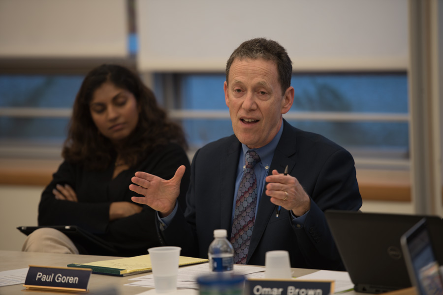 Evanston/Skokie School School District 65 board  Superintendent Paul Goren attends a meeting. Goren said the District 65 board is creating a new equity policy.