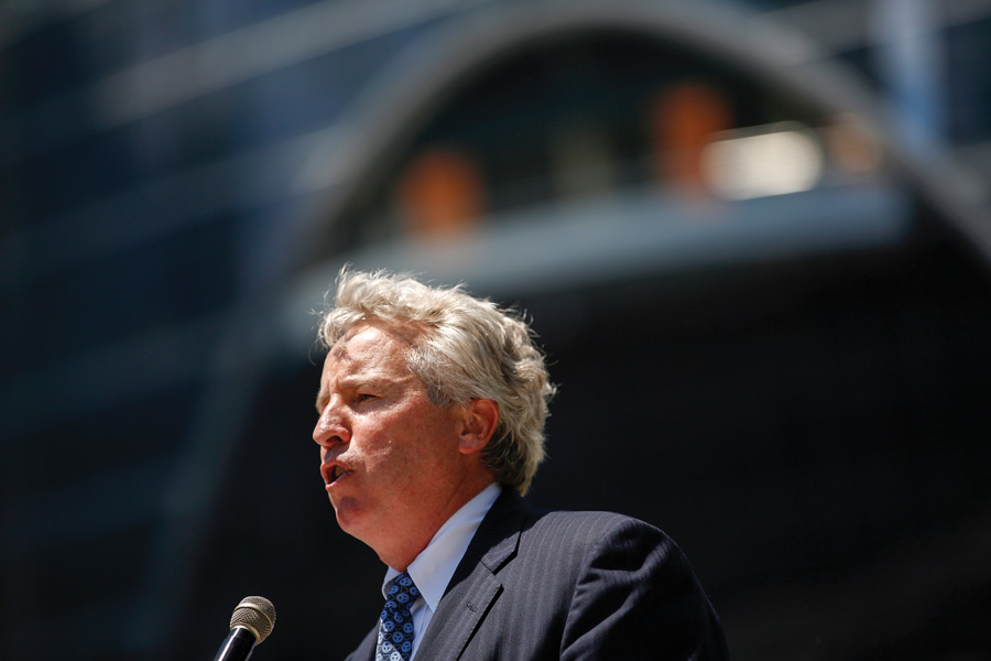 Chris Kennedy speaks at a ribbon cutting ceremony for a new development in June 2016 in Chicago. Kennedy announced Wednesday that he is running for Illinois governor.