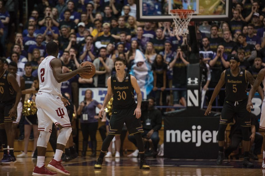 Bryant McIntosh defends the perimeter. The junior point guard is a focal point in Northwestern's pursuit of an NCAA Tournament bid this season.