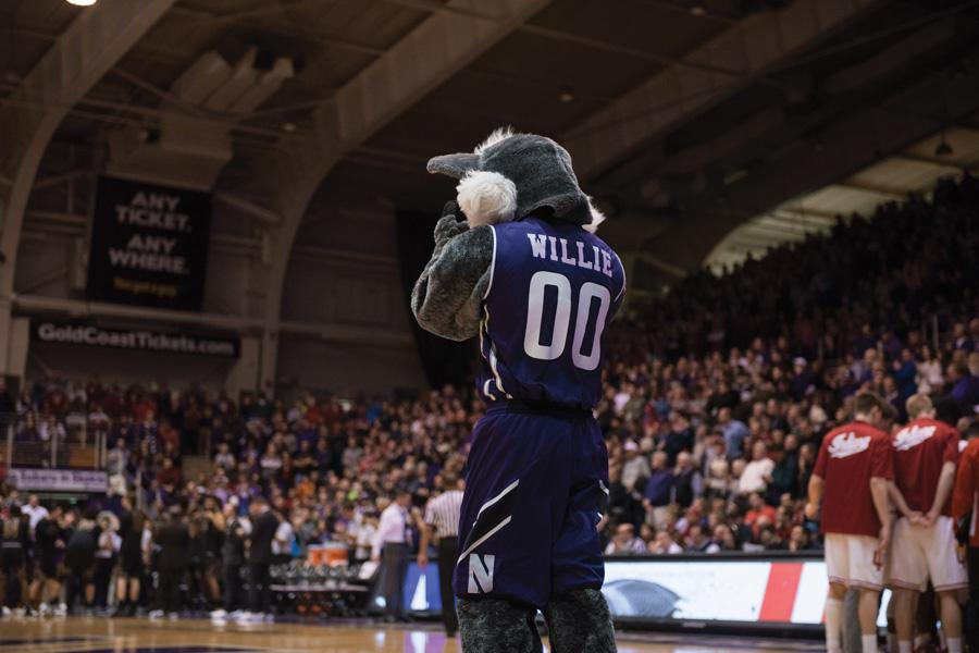 Willie the Wildcat parades the sideline at Welsh-Ryan Arena during Northwestern's game against Indiana on Sunday. The game against the Hoosiers was sold out.
