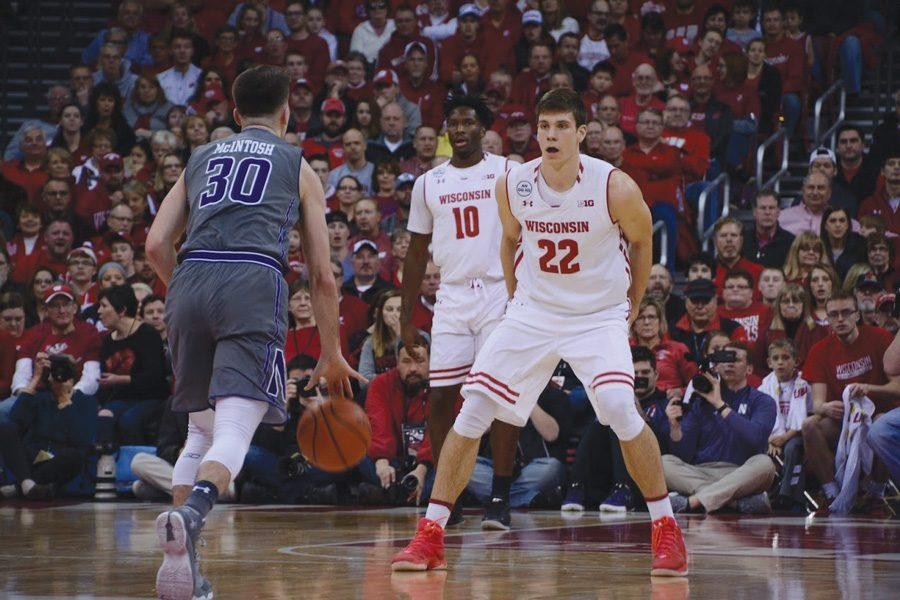 Bryant+McIntosh+dribbles+the+ball+up+the+court.+The+junior+guard+led+the+Wildcats+with+25+points+in+their+upset+of+No.+7+Wisconsin.