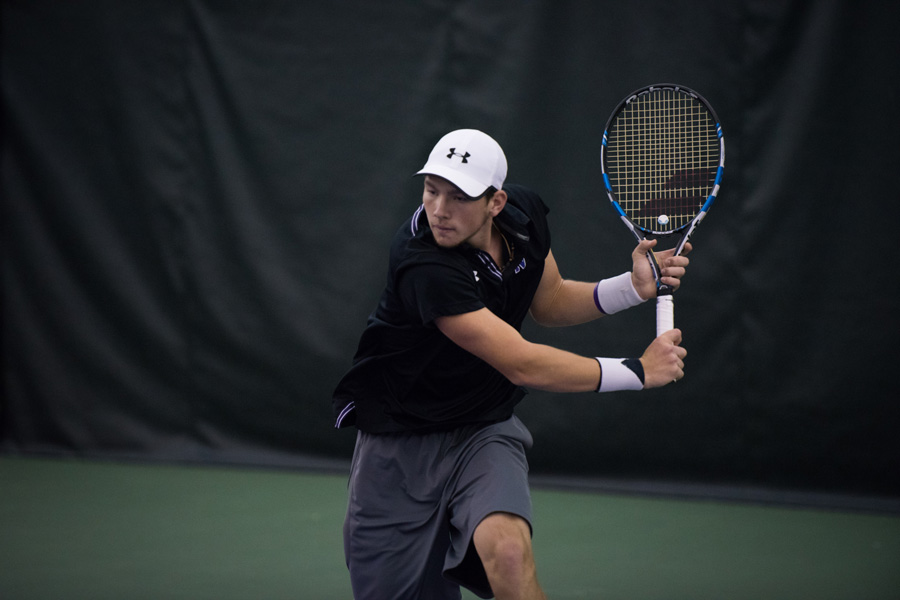 Strong Kirchheimer readies a backhand. The senior was unable to lift Northwestern over elite competition this weekend.