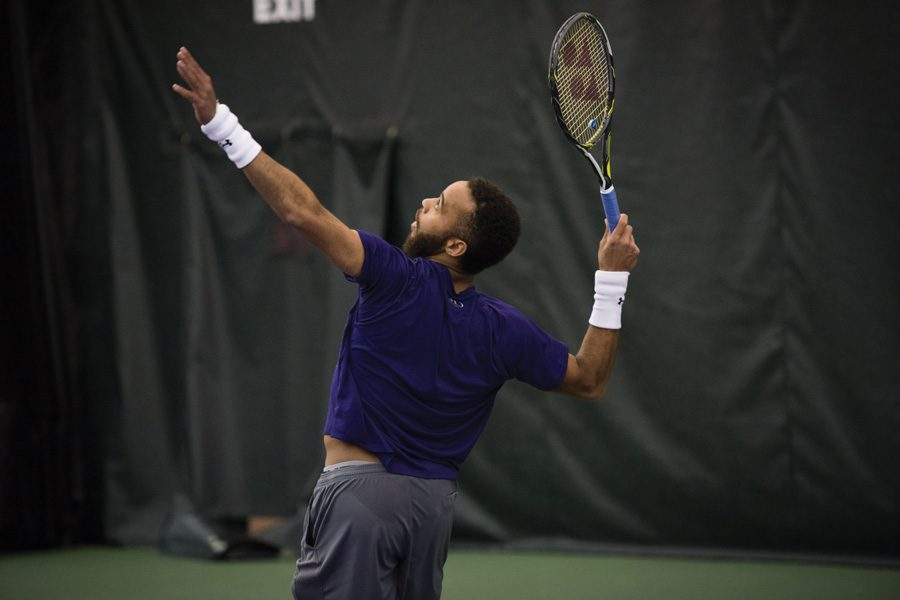 Sam Shropshire serves. The senior faces a chance to avenge Northwestern's loss to Oklahoma State.