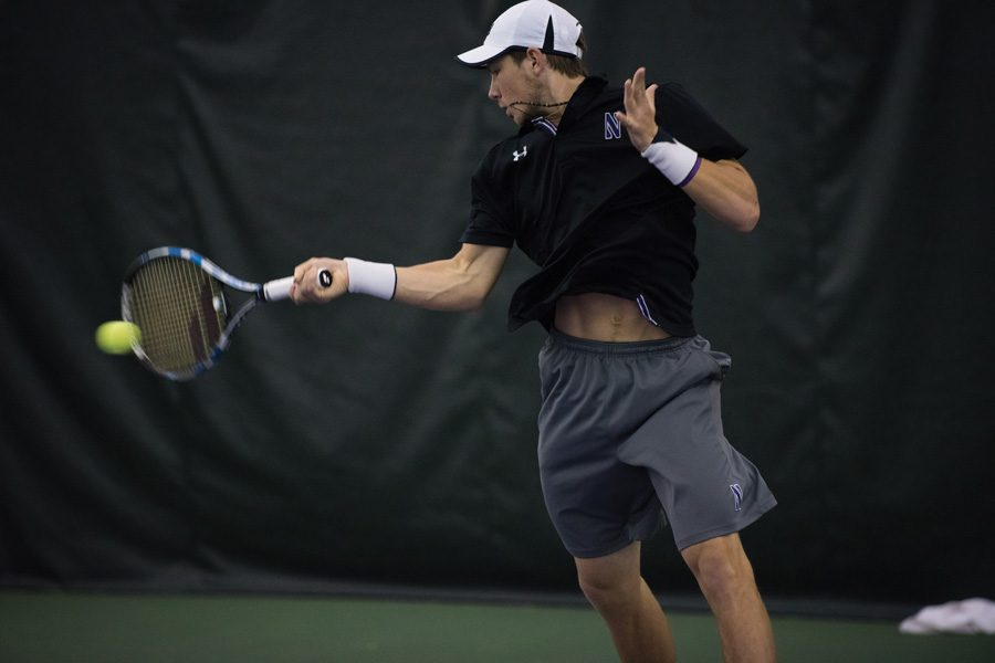 Strong+Kirchheimer+hits+a+forehand.+The+ranked+senior+will+lead+the+Wildcats+into+Big+Ten+Play+on+Friday.