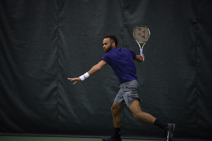 Sam Shropshire winds up for a forehand. The senior, who earned Big Ten Athlete of the Week honors Tuesday, and the Wildcats are set for a trio of matches this weekend.