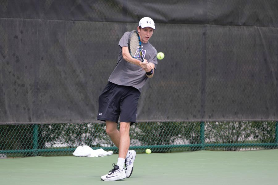 Ben Vandixhorn hits a backhand. The sophomore will look to help his team to victory against the nation's best teams this weekend.