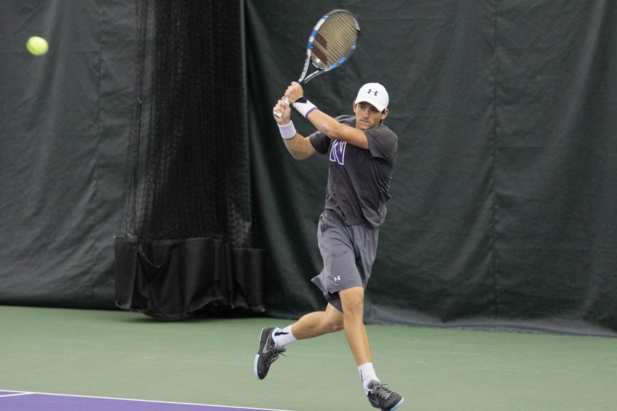 Strong Kirchheimer fires a backhand. The senior said he was disappointed by Northwestern's two losses this weekend.