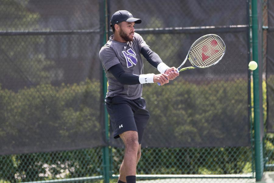 Sam Shropshire hits a backhand. The senior provided veteran leadership in the Wildcats' weekend sweep.