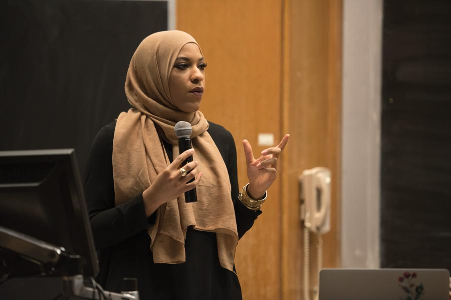 "Olympic fencer Ibtihaj Muhammad speaks to a crowd about her experiences as a black, Muslim-American athlete. The event, part of McSA's ""Discover Islam"" week programming, was held in Technological Institute."