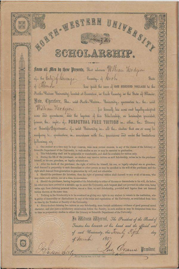 An original certificate for a perpetual scholarship. Perpetual scholarships were created when Northwestern was first founded to help finance the University.