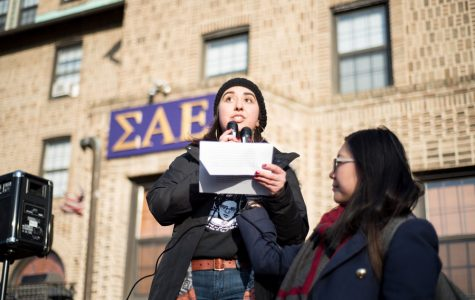 Organizers speak during a protest following reports of alleged druggings and sexual assault committed at the Sigma Alpha Epsilon fraternity and another unnamed fraternity. Organizers of the protest released a petition Monday demanding additional resources for students and increased accountability for Greek organizations.