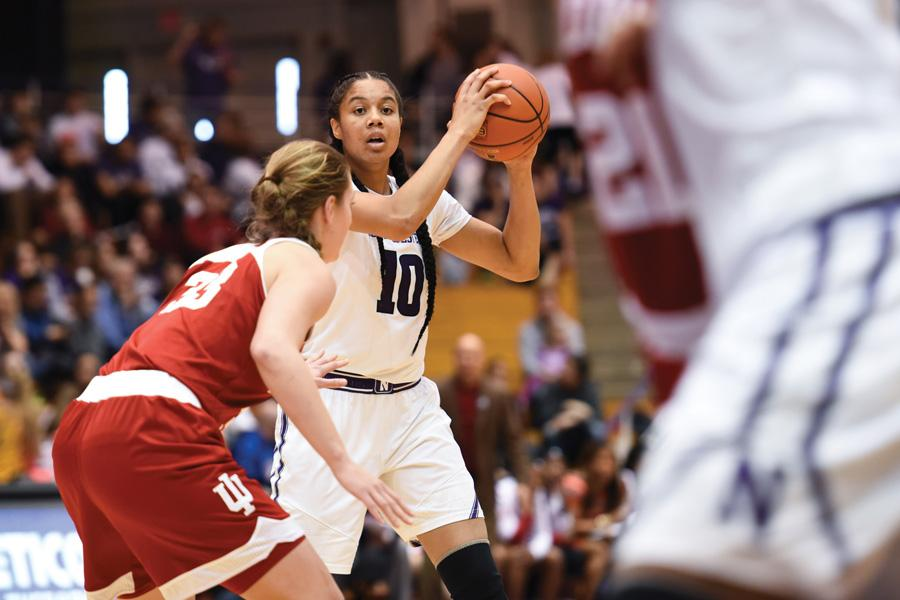 Nia Coffey looks to pass. The senior will look to lead Northwestern over Indiana for the second time this year