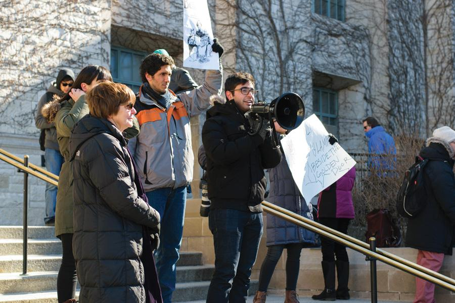 Students, faculty, staff and Evanston residents gather at Technological Institute to protest President Donald Trump's executive order barring citizens of certain Muslim-majority countries from entering the U.S. Evanston Mayor Elizabeth Tisdahl addressed protesters and urged them to continue to resist Trump's executive order.
