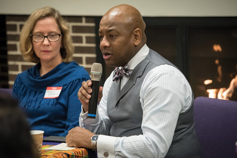Evanston Police Detective Loyce Spells speaks about Black Lives Matter at a panel on Thursday. Spells said Christians must combat racism and care for fellow people.