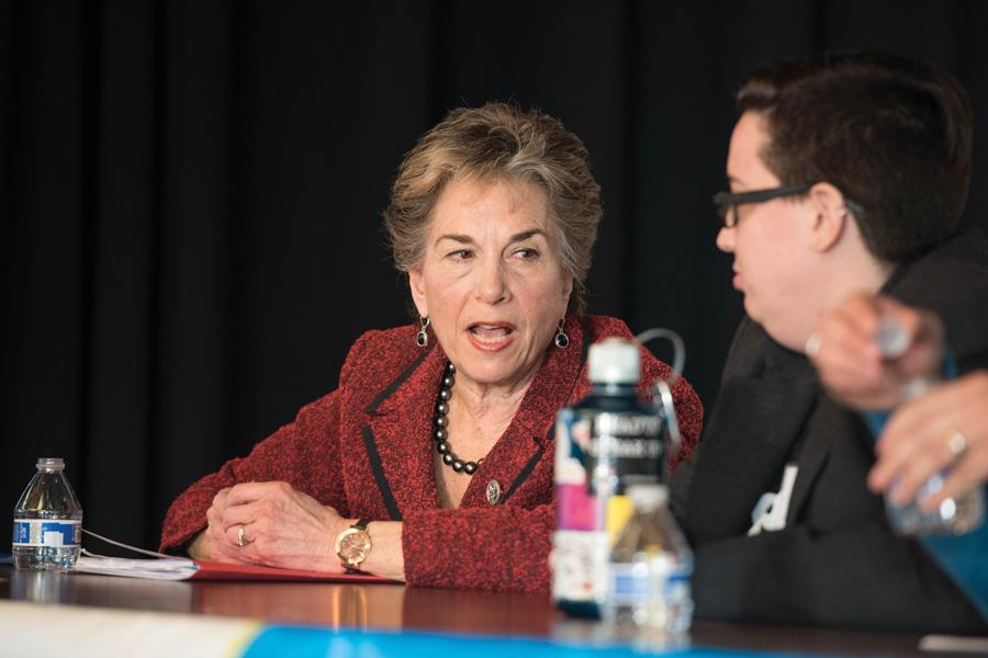 """U.S. Rep. Jan Schakowsky (D-Evanston) speaks at an Open Communities event Sunday. Schakowsky called on local activists to keep """"standing up for justice"""" at the event."""