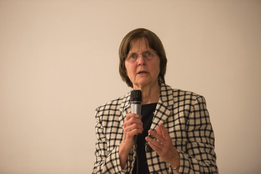 """Mayor Elizabeth Tisdahl speaks at a town hall Tuesday evening. Tisdahl said Evanston was """"on our own"""" when it comes to state and federal support at a town hall Tuesday evening."""