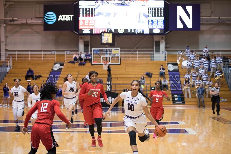 Nia Coffey dribbles the ball. The senior forward was named to her fourth All-Big Ten First Team.