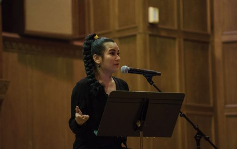 Keynote speaker Prisca Dorcas Mojica Rodriguez speaks at Lutkin Hall on Monday. Rodriguez provided words of healing as she addressed issues of navigating predominantly white institutions as a Latinx student.