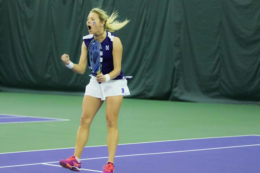 Alex+Chatt+celebrates+a+point.+The+junior+logged+two+wins+but+Northwestern+dropped+its+weekend+matches.
