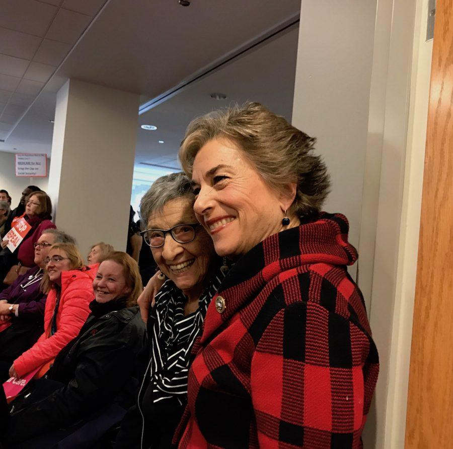 Rep. Jan Schakowsky (D-Ill.) poses for a picture alongside 98-year-old labor activist Beatrice Lumpkin at an event in Chicago. Schakowsky denounced Trump's executive action to restrict immigration from seven countries and pledged to continue to advocate for immigrants.