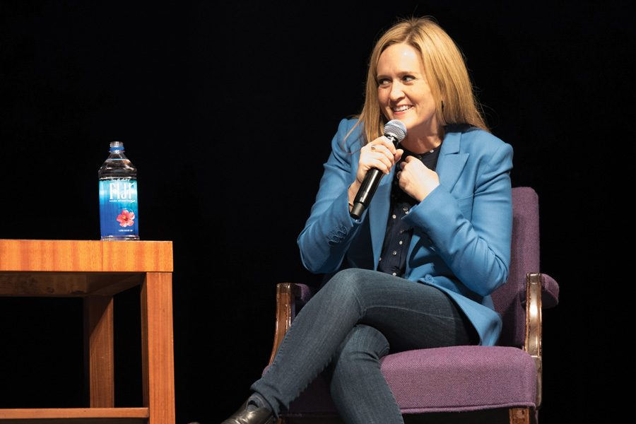 Samantha Bee discusses the role of comedy and other forms of resistance in the age of Trump. The event, hosted Tuesday in Cahn Auditorium, was organized by A&O Productions, College Democrats and One Book One Northwestern.