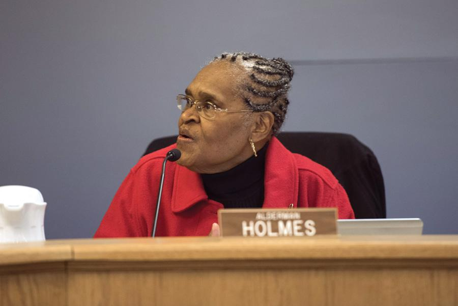 Ald. Delores Holmes (5th) at a City Council meeting. Holmes apologized for using a city email to endorse Robin Rue Simmons for 5th Ward alderman at a City Council meeting Monday night.
