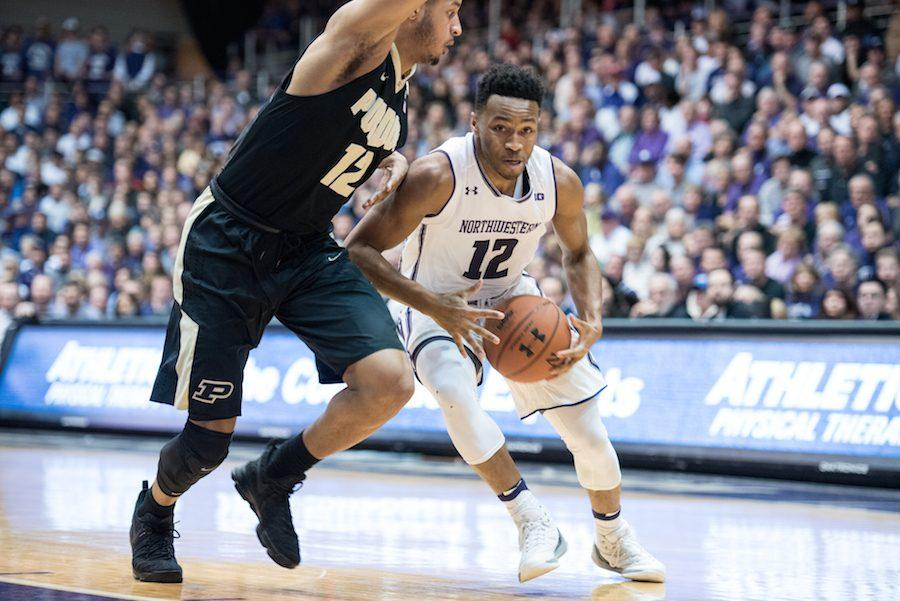 Isiah Brown goes to the hoop. The freshman guard led Northwestern's perimeter players in proportion of shots taken at the rim in conference play.