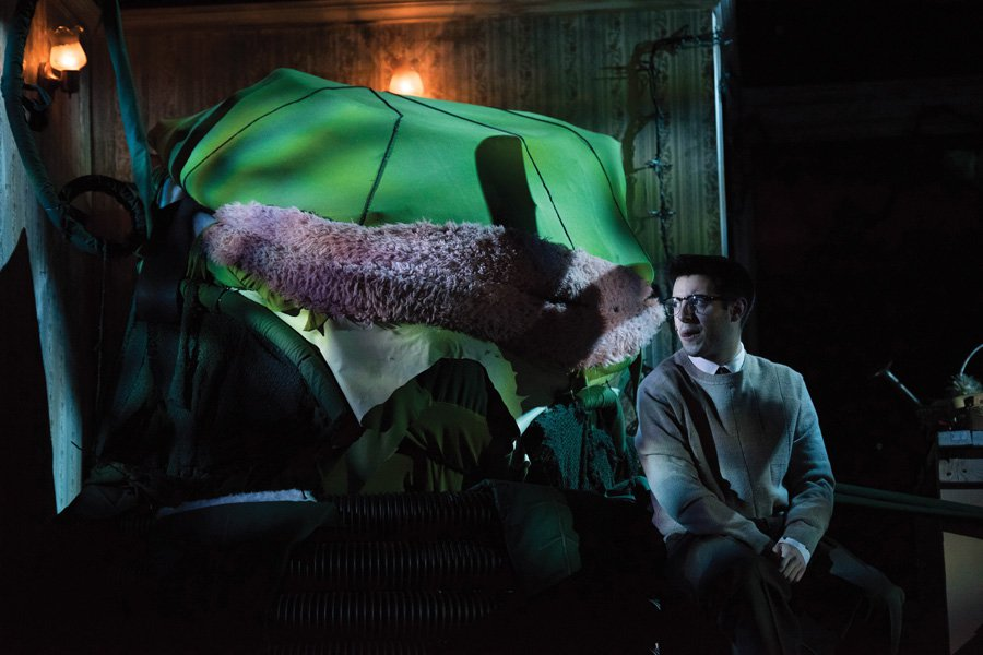 """Alex Schneidman and his leafy costar rehearse for the upcoming production of """"Little Shop of Horrors."""" Dolphin Show will take the production on tour to Bosnia and Herzegovina this Spring Break."""