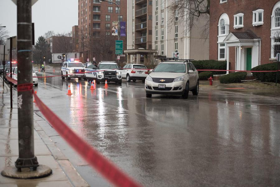 Police+partially+blocked+off+Clark+Street+after+a+26-year-old+Northwestern+student+was+hit+by+a+car+Wednesday+afternoon.+The+woman+was+taken+to+Evanston+Hospital+with+a+head+injury.