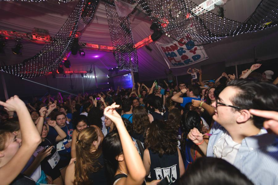 Northwestern students kick off the 43rd Dance Marathon. The first block's celebrity videos featured Facebook COO Sheryl Sandberg and political commentator James Carville.