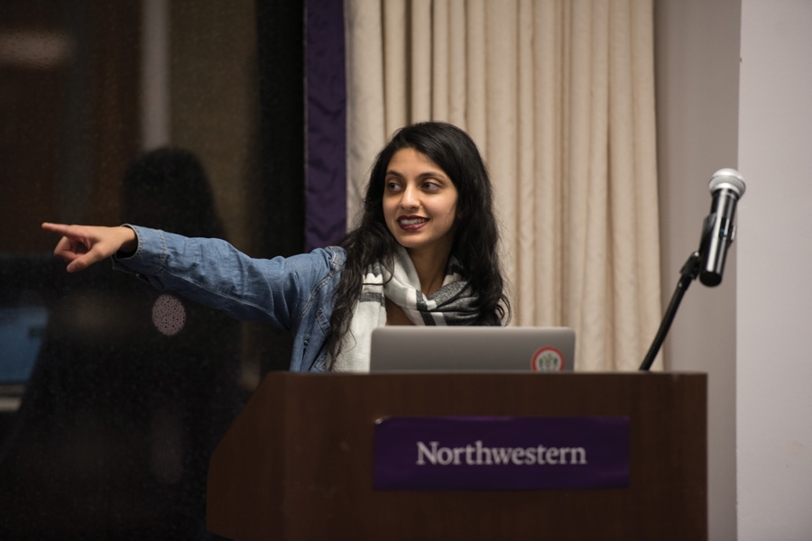 Weinberg junior Nehaarika Mulukutla speaks at ASG senate. Mulukutla announced Tuesday she will run for ASG President.