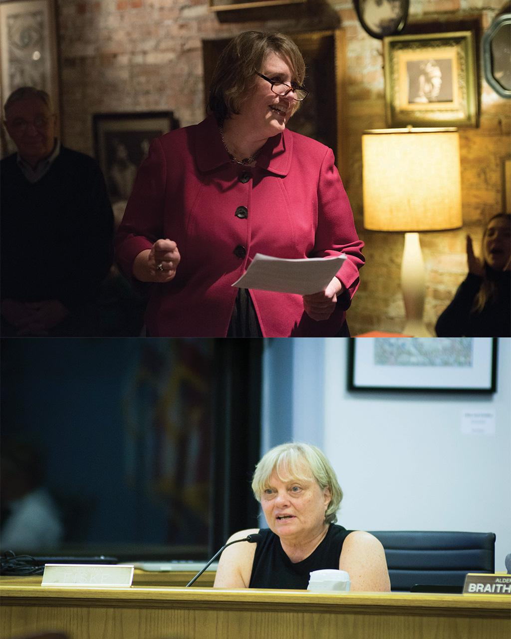 Candidate for 1st Ward alderman Lee Cabot (top) talks to the crowd during her campaign kickoff in January. Ald. Judy Fiske (1st) (bottom) attends a council meeting.