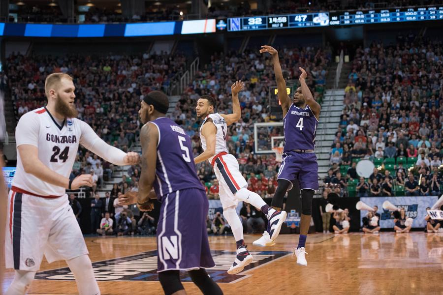 Vic Law attempts a jumper. The sophomore forward's inspired 18-point effort wasn't enough as the Wildcats' season came to a close against Gonzaga.