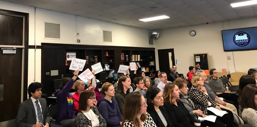 Community+members+attend+a+District+202+School+Board+Policy+Committee+meeting+Thursday.+The+committee+decided+at+the+meeting+to+draft+new+language+that+would+allow+transgender+students+to+use+the+locker+room+that+aligns+with+their+gender.