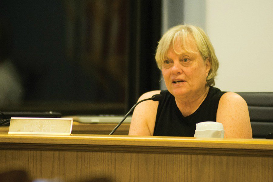 Ald. Judy Fiske (1st) attends a council meeting. Fiske asked city staff earlier this year to look into whether Evanston buildings bought by Northwestern must remain on the city's tax roll.