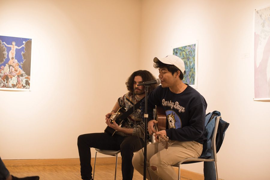 Performers+play+guitar+during+Jams+for+Justice+on+Wednesday.+The+event+featured+student+performers+and+gave+them+an+opportunity+to+speak+about+social+justice+issues.