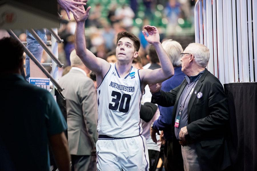 Bryant McIntosh celebrates after Northwestern's win over Vanderbilt. The junior guard scored 25 points in the victory.