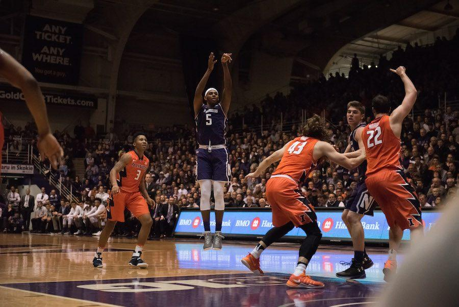 Dererk Pardon puts up a jumper. The sophomore center stretched his game outside the paint in the Big Ten season, but found minimal success on his jumpshots.